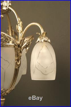 Grand Lustre Art Déco 1925 En Bronze Vieil Argent Et Verre Moulé Dépoli