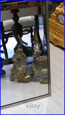 Grand Miroir Art Déco En Bronze Argenté Ou Nickelé, Décor De Fleurs vers 1925