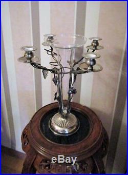 Grand candélabre, chandelier vase design argent cristal