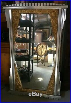 Grand miroir ancien Art-Déco 1900 glace au mercure cadre sculpté doré argenté