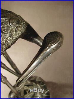 Grand pied de lampe art déco en bronze nickelé