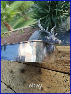 Grand plateau metal argenté et bois ancien tete de cerf chasse venerie art deco