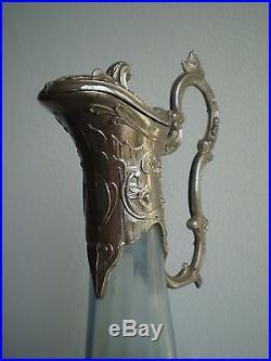 Grande Aiguiere Verre Emaille 1900 Art Nouveau Ewer Liberty Enamel Glass Deco