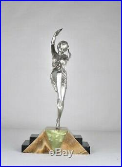 Grande Danseuse Aux Cymbales, Bronze Attb à Pierre Le Faguays, Art Déco, 20eme