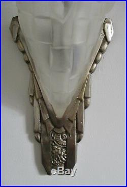 Grande applique verre pressé signé Degué bronze nickelé ART DECO sconce bracket