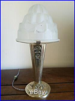 Grande lampe Obus en bronze massif argenté verre 1925 ART DECO signé Degué
