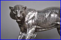 Grande panthère art déco en bronze argenté, I Rochard