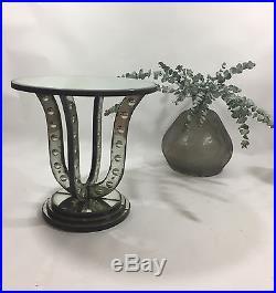 Gueridon Rond En Verre / Miroir Eglomisé Style Art Deco De 60 CM De Diametre