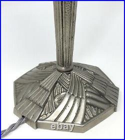 Hettier & VIncent Lampe Art Déco Bronze Nickelé, Tulipe Cristal Baccarat