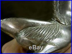 I. Rochard Rare Statue Sculpture Cigogne 1925 Art Deco Bronze Argente Mascotte
