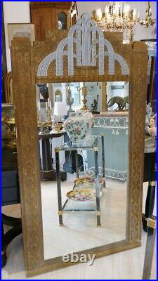Important Miroir Trumeau En Bois Doré Et Argenté époque Art Déco 1930