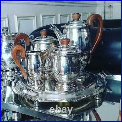 Important Service à thé/café Moderniste en Métal Argenté +accessoirs Christofle