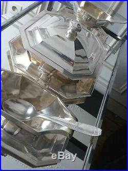 Important Surtout Table Art Déco Argent 1930 + timbale Christofle Luc Lanel