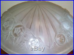 Importante lampe art deco 1930 Muller frère en bronze argenté et vasque Degué