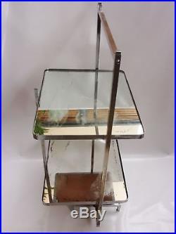 Jean Boris Lacroix Table Desserte Pliante Moderniste Bronze Argente Vers 1930