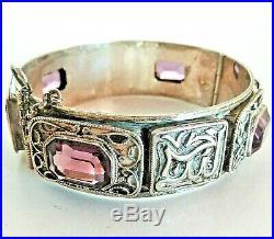 Joli bracelet en argent massif et améthystes taillées, époque Art-Déco