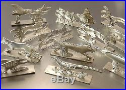 Joseph Buisson Orbrille 12 Porte Couteaux Animaliers Art Deco Metal Argente