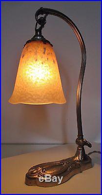 LAMPE ANCIENNE BRONZE nickelé SIGNÉE C. RANC ART DECO Tulipe SCHNEIDER