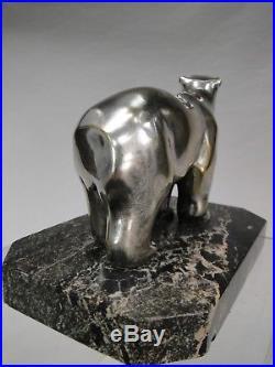 LOUIS RIGOT XXè RARE OURS EN BRONZE ARGENTE EPOQUE ART DECO Ca. 1930 MODERNISTE