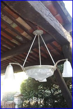 LUSTRE SIGNE EJG 1089 FRANCE ART DECO Bronze Argenté nickelé