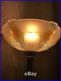 Lampe Art Deco Tulipe Opalescente Ezan Lacroix Degue Daum Lustre Lamp