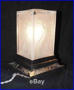Lampe Art Déco building cf. Hanots / Dégué Pate verre pied chromé motifs floraux