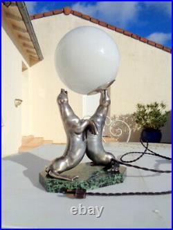Lampe Otarie Par Carvin Régule Argenté sur Marbre époque Art Déco Signé Superbe