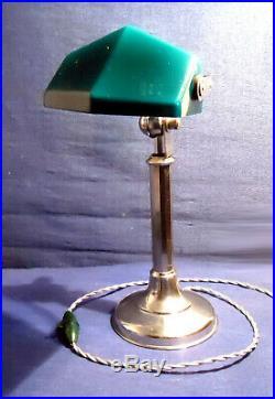 Lampe Pirouett Rare Modèle Banquier A Verre Opaline Bi-couche Vert Et Blanc 1930