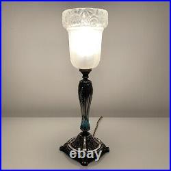 Lampe art deco bronze argenté et verre satiné