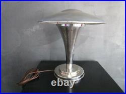Lampe art-déco en métal chromé