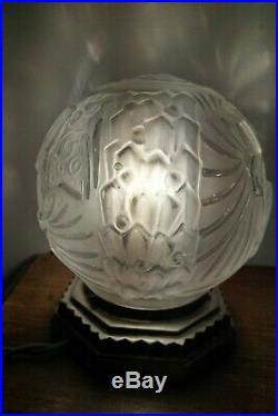 Lampe boule Muller Frères Lunéville Art Déco pied bronze argenté