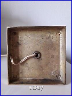 Lampe moderniste art deco en métal argenté gainé de cuir vers 1940-1950