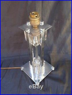 Lampe moderniste bronze nickele cristal vers 1950 attribué Jacques Adnet