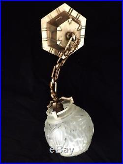 Lampe suspension bronze argenté nickelé verre dépoli de Muller Frères Luneville