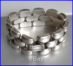 Large bracelet Argent Style Tank. Art déco. 132 grammes