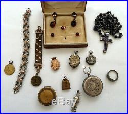 Lot bijoux anciens argent plaque or art deco nouveau porte photo medaille fob