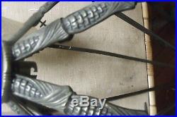 Lustre Art Deco Bronze Argente A Plaques Petitot /gilles