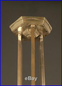 Lustre Art Déco Bronze Fondu Nickelé Vieil Argent Et Verrerie Rose