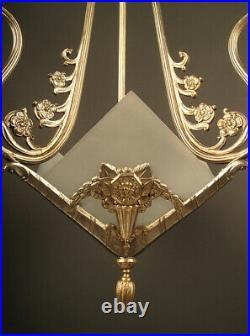 Lustre Art Déco En Bronze Vieil Argent Et Verre Dépoli