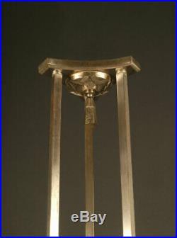 Lustre Art Déco En Bronze Vieil Argent Et Verre Moulé-pressé Dépoli