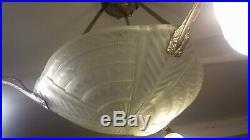 Lustre Art Deco Lampe 1930 Tulipe Vasque Noverdy Muller Degue Maynadier Daum