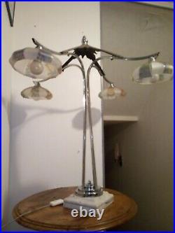Lustre Art Deco Transforme En Lampe A Poser Sur Socle Marbre, 4 Branches