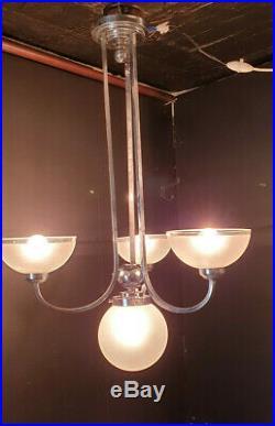 Lustre Art Déco en métal chromé 3 bras 4 feux (vintage chandelier ceiling light)