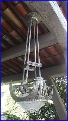 Lustre Bronze Argente Art Deco Époque Daum Galle Schneider Brandt