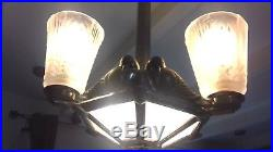 Lustre Bronze Argente Art Deco Muller French Chandelier Lamp Tulipe Plaque