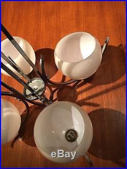 Lustre Moderniste Laiton Chromé, Art Deco A 4 Globe En Verre, Vintage