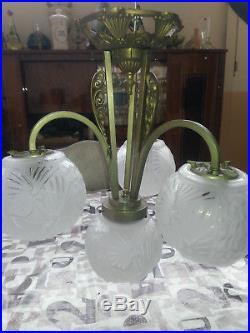 Lustre bronze ou régule argenté années 1930 Art déco verre moulé Muller Fréres