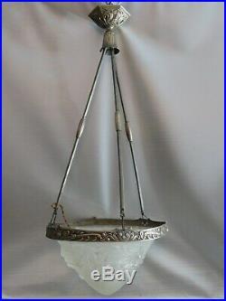 Lustre lampe art deco en bronze argenté nickelé obus pate de verre