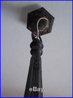 Lustre métal argenté tulipe pâte de verre d'époque Art Déco 1930 made in France