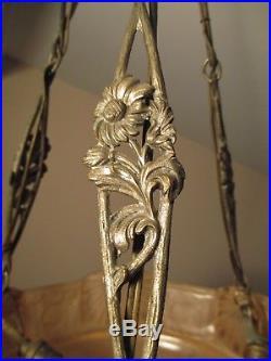 Lustre vasque d'éclairage MULLER FRÈRES Art Déco monture bronze nickelé 1925